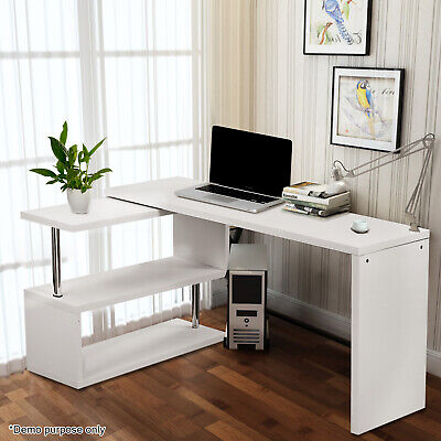 L-Shaped Corner Computer Desk Home Office PC Workstation with Shelves White
