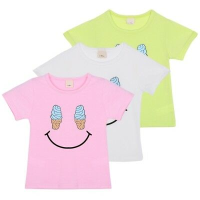Cute Baby Kids Boys Girls Smile Summer Short Sleeve Pullover Casual T-shirt Tops