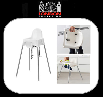 Baby High Chair IKEA Antilop Baby High Chair White Durable Plastic Safety Straps