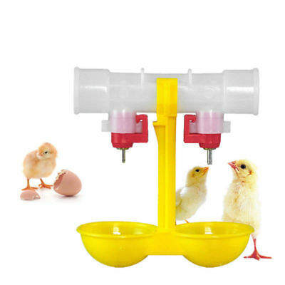 Double Hanging Outlet Drinking Chickens Cups Nipple Drinker Poultry Waterer