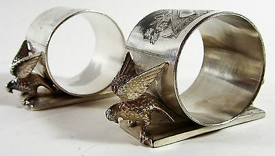 Victorian Napkin Rings Meriden Silver Plate Doves  #146  Antique Pair (2)