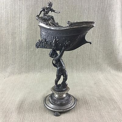 Rare WMF Antique Table Centerpiece Silver Plate Putti Cherub Figure Boat 19th C