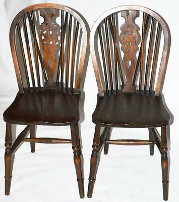 A pair of Antique Elm & Ash Wheel-back Windsor Chairs - FREE Shipping [PL2811]