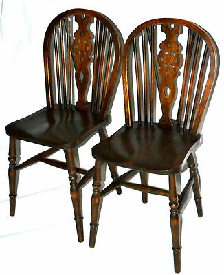 A pair of Antique Elm & Ash Wheel-back Windsor Chairs - FREE Shipping [PL2814]