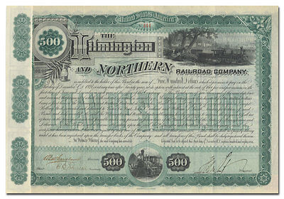 Wilmington and Northern Railroad Company Bond Signed by Henry A. duPont