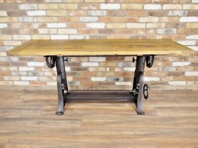 Vintage Draft Table Industrial Dining Table Adjustable Height Dining Room Table