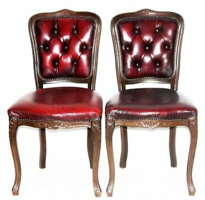 A pair of Vintage Carved walnut Queen Anne Oxblood Dining Chairs [PL2762 A]