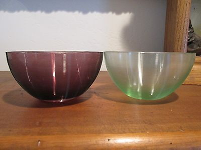 PAIR of Threaded Glass Finger Bowls Purple and Green Made in Czech