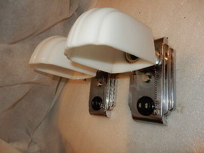 Art Deco Nickel Plate Streamlined Wall Sconces with Original Milk Glass Shades