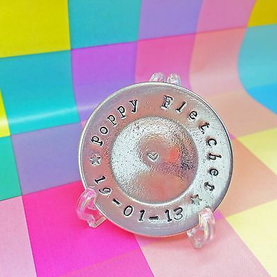 Personalised Gift for New Baby, commemorative pewter mini plate