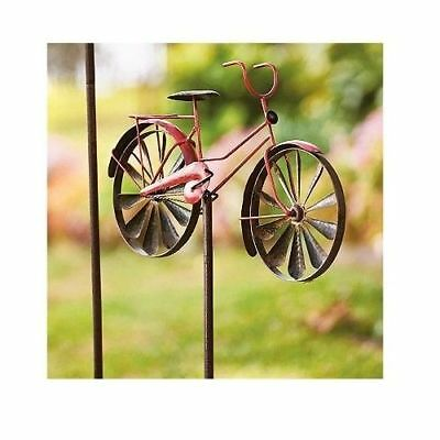 Garden Bicycle Wind Spinner Red Yard Patio Lawn Outdoor Metal Windmill Decor New