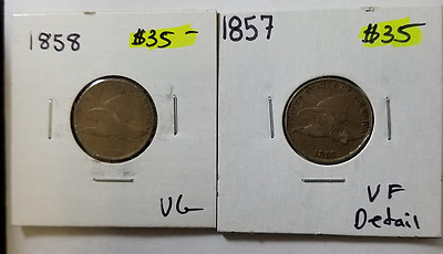 1857 & 1858 2 Flying Eagle Cents 2 Coins No Reserve (RC278.e)