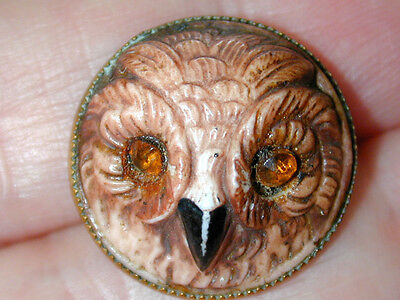 Rare Scarce Antique Glass in Metal Button Owl Head Face Rhinestone eyes