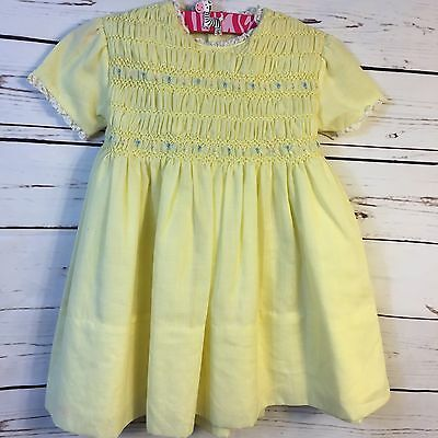 Vintage Polly Flinders Hand Smocked Dress Lace Trim Bow Back Yellow Girls Size 3