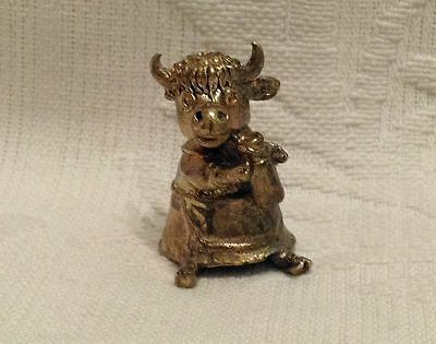Russian Сollectible Decorative Brass Thimble Cow milkman