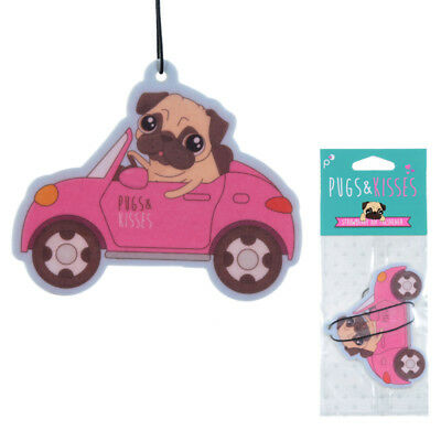 Car Air Freshener Pugs & Kisses Strawberry Pug home Novelty Hanging Freshner