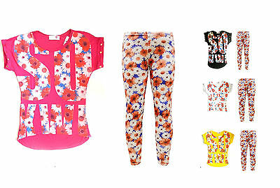 Girls Kids Summer Daisy Flower Top & Printed Legging Oufit Set Suit Ages 7-13Yrs