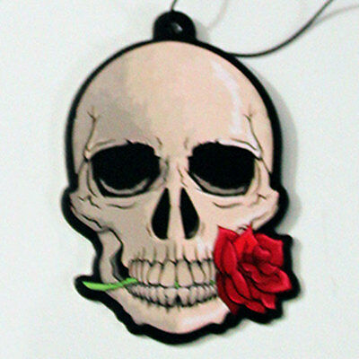 Car Air Freshener Gothic Skull & Rose home van Novelty Hanging Freshner