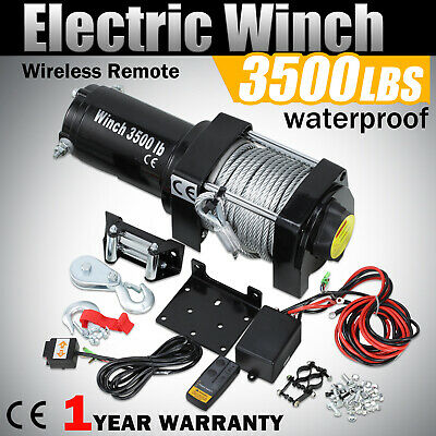 3500lbs Electric Winch Car Boat Truck ATV Trailer Truck Rope 12V Remote Control