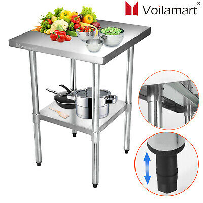 Stainless Steel Work Bench Commercial Catering Table Kitchen WorkTop Prep 2x2FT