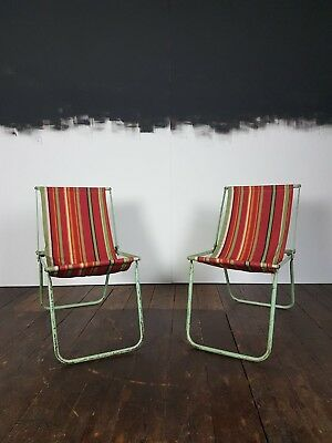 Vtg 50s Pair Metal Stripped Folding Camping Camper Deck Chairs Retro Vw