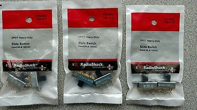 6 Heavy Duty DPDT Slide Switches, 6A 125VAC, 3 packs of 2 switches, 275-0403,new