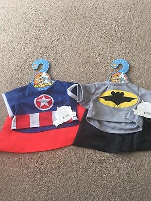 """Superhero Cpt America Tee And Cape For 16"""" Build A Bear"""