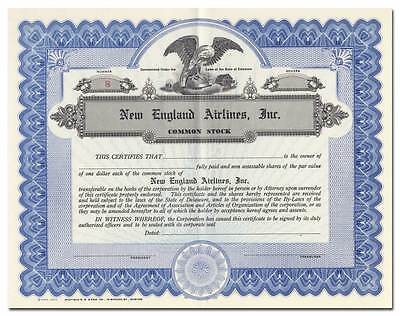 New England Airlines, Inc. Stock Certificate