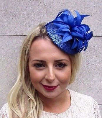 Royal Blue Sequin Feather Flower Fascinator Hat Hair Clip Races Pillbox 3552