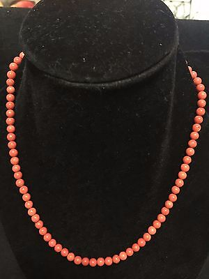 natural chinese red coral necklace 14kt gold clip