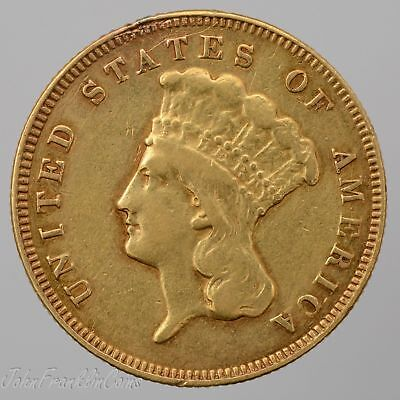 1878 $3 Indian Princess Head Three-Dollar Gold Piece XF (Removed Mount) /Q-784