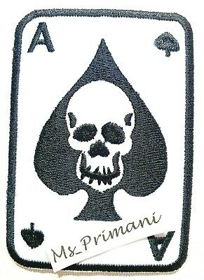 Skull Ace of Spades Playing Casino Cards Biker Rocker Embroidered Patch badge
