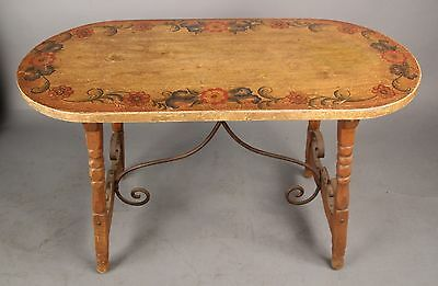 Rare Spanish Revival Rancho Signed Monterey Library Table Iron Stretcher (10529)