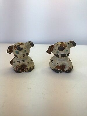Vintage Small Iron Sitting Puppy Figurine/paperweight Lot Of 2