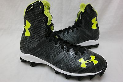New! Under Armour Youth 1264197 UA Highlight RM Lacrosse Cleats Black/Yellow K55