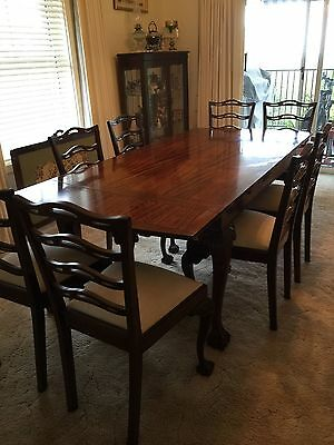 Antique Chippendale Dining Table With 8 Chairs