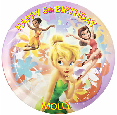 DISNEY FAIRIES TINKERBELL Personalised Edible Icing Sheet Topper Round Images