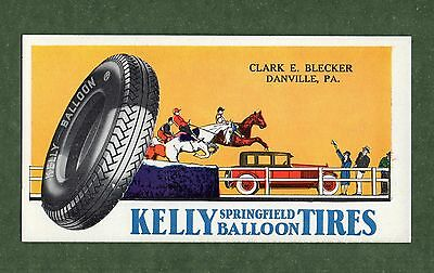 "KELLY-SPRINGFIELD TIRES Unused Blotter - 3¼""x6¼"", c1930, Danville PA, Great Cond"