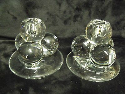 Antique Art Deco Glass Ball Cluster Candlestick Pair