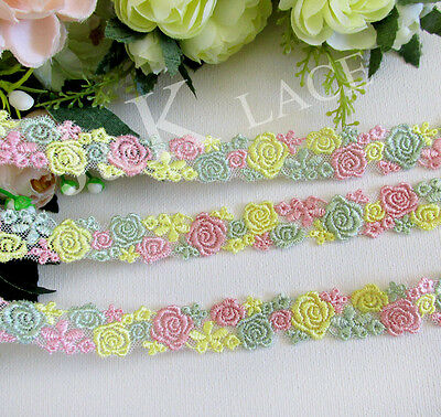 2 meters 2 cm width Pink /Yellow /Light Green Flower Embroidery mesh Lace Trim