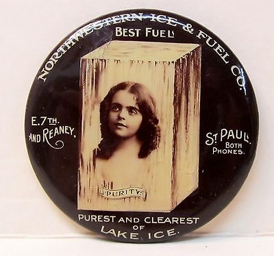 circa 1910 NORTHWESTERN ICE & FUEL CO. St. Paul Minn. celluloid pocket mirror *