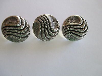 3 Vintage Silver Metal Buttons 20mm    - shank A27