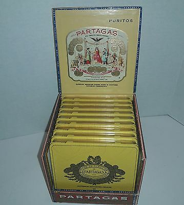 Lot of 9 Vintage Partagas Tin Cigar Boxes With Wood Display Case