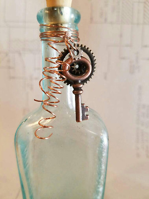 Reclaimed Grunge Steampunk Decorated Vintage Blue Glass Apothecary Bottle