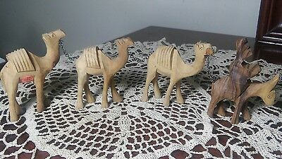 Wood Carved Camel Caravan Chained with Man & Mule Donkey Vintage