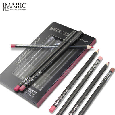 12 Colors Lot Professional Lipliner Pen Nude Makeup Waterproof Lip Liner Pencil