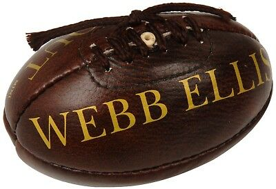 (Size 5, Dark Brown Tan) - Webb Ellis Leather Puntabout Ball Rugby Souvenir. Del