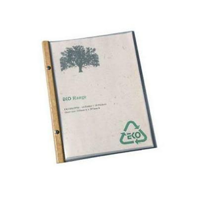 EKO A4 Folder, Timber Trim, 10 Pockets, Restaurant Menu / Eco Friendly