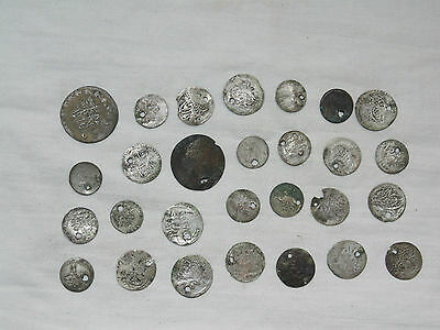Lot 28 Antique Ottoman Empire Turkish Islamic Silver Akce Akche Drilled Coins *6
