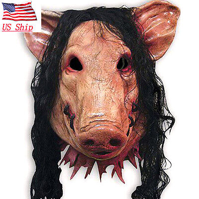 Horror Movie Saw Pig Mask Latex Full Face Halloween Party Cosplay Prop US SHIP